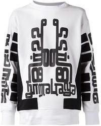 Pull surdimensionné imprimé blanc et noir Kokon To Zai