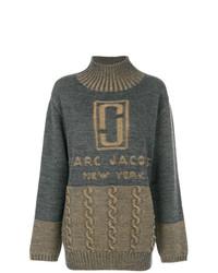 Pull surdimensionné imprimé gris foncé Marc Jacobs
