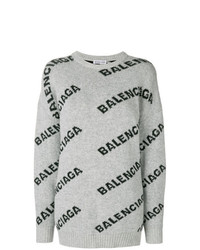 Pull surdimensionné imprimé gris Balenciaga