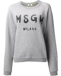 Pull surdimensionné imprimé gris MSGM