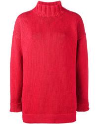 Pull surdimensionné rouge Alexander McQueen