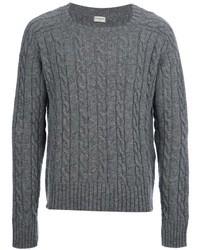 Pull torsadé à motif zigzag gris Saint Laurent