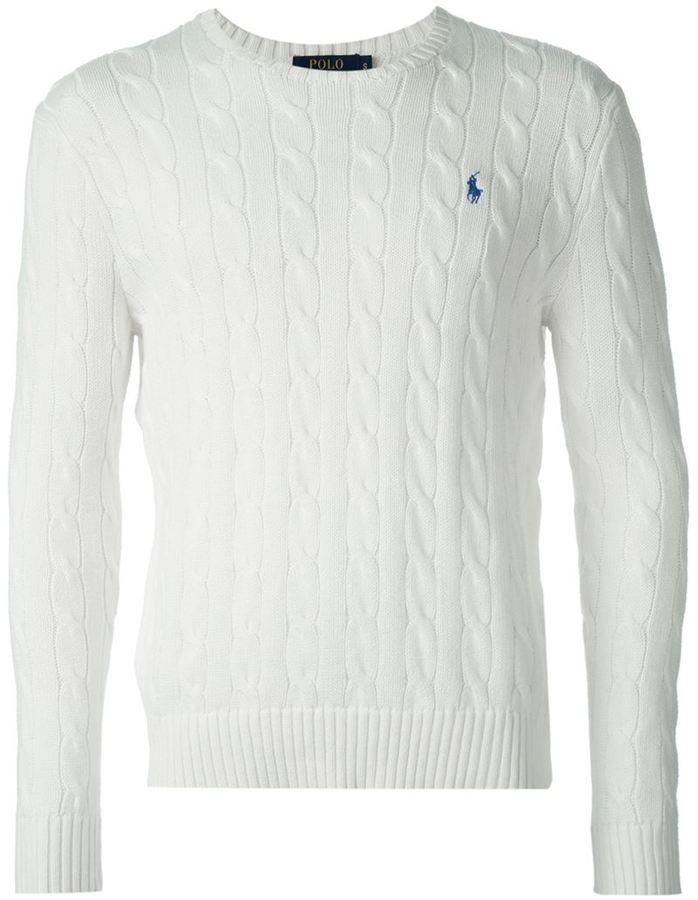 Pull torsadé blanc Polo Ralph Lauren, C 170   farfetch.com ... ff79a21a9afc