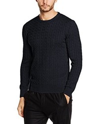 Pull torsadé bleu marine Paul James Knitwear Limited