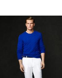 Pull torsadé bleu