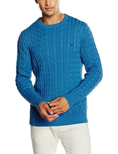Pull torsadé bleu Crew Clothing