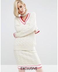 Pull torsadé en tricot beige Asos