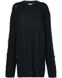Pull torsadé en tricot noir Palm Angels
