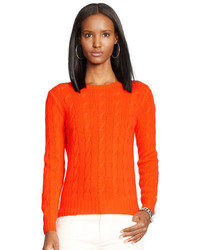 Pull torsadé en tricot orange