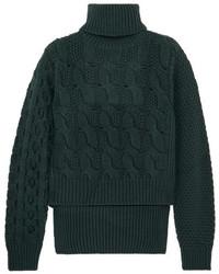 Pull torsadé en tricot vert foncé