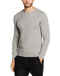 Pull torsadé gris Paul James Knitwear Limited