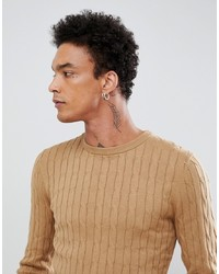 Pull torsadé marron clair Gianni Feraud