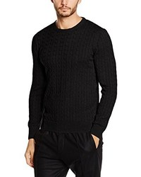 Pull torsadé noir Paul James Knitwear Limited