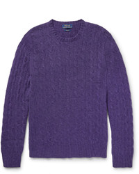 Pull torsadé violet Polo Ralph Lauren