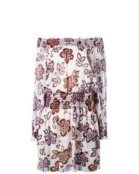 Robe à épaules dénudées à fleurs marron Tory Burch