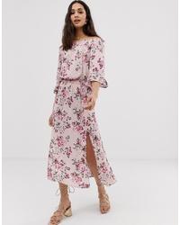 Robe à épaules dénudées à fleurs rose En Creme