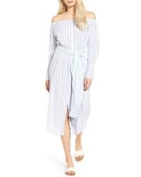 Robe à épaules dénudées à rayures verticales bleu clair