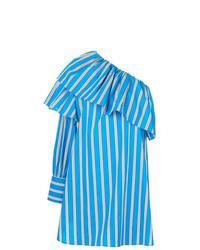 Robe à épaules dénudées à rayures verticales bleu MSGM