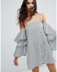 Robe à épaules dénudées à rayures verticales gris