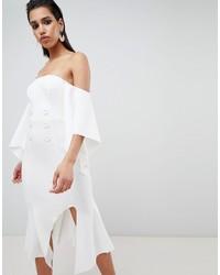 Robe à épaules dénudées blanc ASOS DESIGN