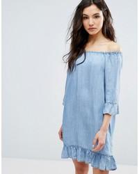 Robe à épaules dénudées bleu clair Only