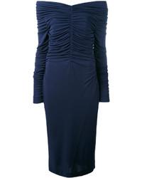 Robe à épaules dénudées bleu marine Salvatore Ferragamo