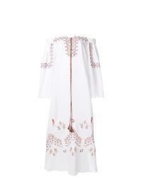 Robe à épaules dénudées brodé blanc Ermanno Scervino