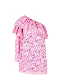Robe à épaules dénudées en broderie anglaise rose MSGM