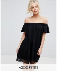 Robe à épaules dénudées en dentelle noir Asos