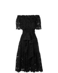 Robe à épaules dénudées en dentelle noir Bambah