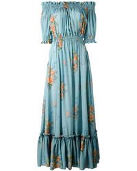 Robe à épaules dénudées en soie turquoise Alexander McQueen