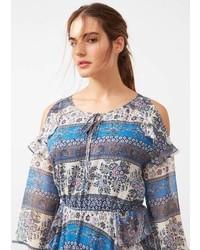 Robe à épaules dénudées imprimé bleu clair