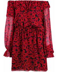 Robe à épaules dénudées imprimé rouge Saint Laurent