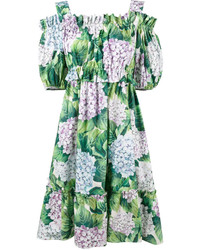 Robe à épaules dénudées imprimé vert Dolce & Gabbana