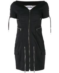 Robe à épaules dénudées noir Moschino