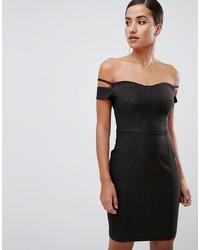 Robe à épaules dénudées noir Vesper