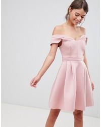 Robe à épaules dénudées rose ASOS DESIGN