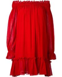 Robe à épaules dénudées rouge Alexander McQueen