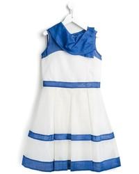 Robe à rayures horizontales blanc et bleu
