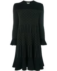 Robe brodée noire Fendi