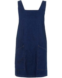 Robe chasuble en denim bleu marine