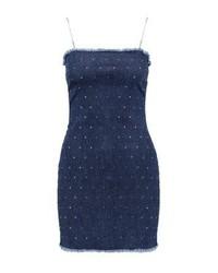 Robe chasuble en denim bleue marine Jaded London