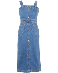 Robe chasuble en denim bleue