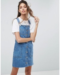 Robe chasuble en denim bleue Asos