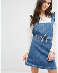 Robe chasuble en denim bleue Mango