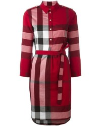 Robe chemise à carreaux bordeaux Burberry