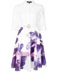 Robe chemise à fleurs blanche Salvatore Ferragamo