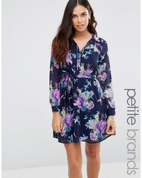 Robe chemise à fleurs bleu marine