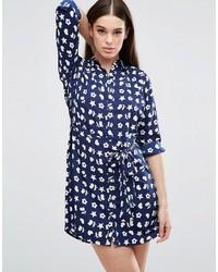 Robe chemise à fleurs bleue marine AX Paris
