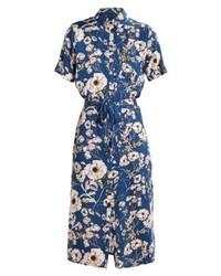Robe chemise à fleurs bleue marine mbyM